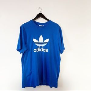 Adidas Classic Blue Crewneck T-shirt Cotton Sz L
